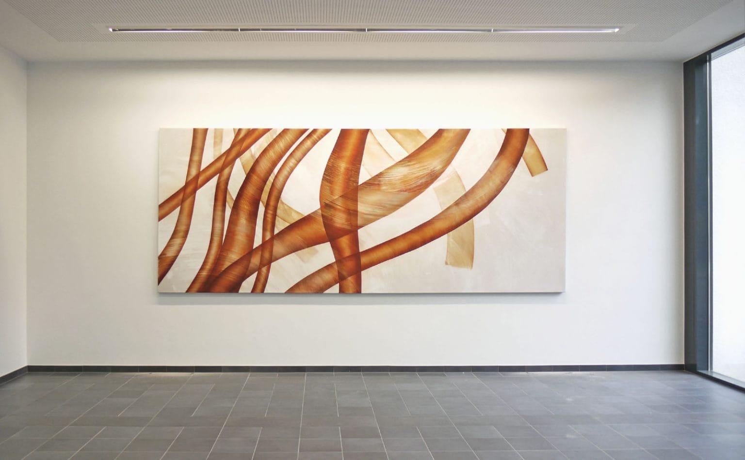 Ohne Titel, 2010, Tusche und Gesso auf Leinwand, 180 x 440 cm // Universitätsklinikum Homburg 2010